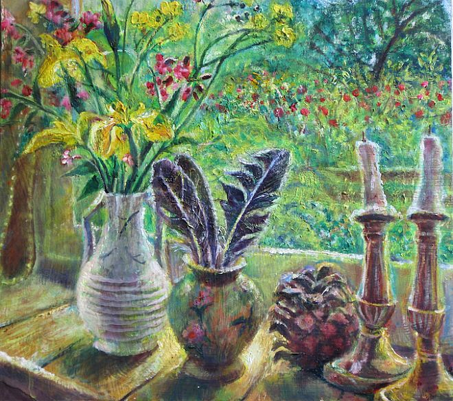 Irises and Candlesticks